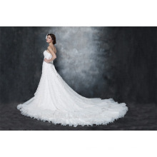 Gorgeous A-line Strapless Chapel Train Pleated Organza and Satin Wedding Dress AS29002