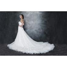 Gorgeous A-line Strapless Capela trem vestido de casamento de organza e cetim prateado AS29002
