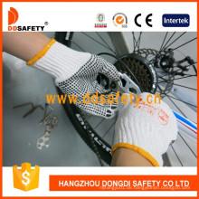 Bleichmittel stricken Baumwolle / Polyester String PVC Dots Arbeitshandschuhe Dkp112