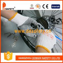Вязать отбеливателя хлопок/полиэстер строки ПВХ точками рабочие перчатки Dkp112