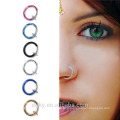 6 Colors Goth Punk Clicker rings On Fake Piercing Body Nose Lip Rings Hoop Ear Tongue