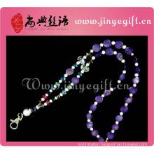 Fashion Jewelry Purple Shell Crystal Bead Keychain Neck Strap