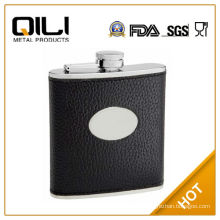 FDA 6oz Black Textured Leather (Cow Hide) Hip Flask