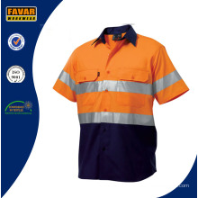 Mens Two Tone 3m Reflective Shirt High Vis Orange Security Short Sleeve Work Shirt