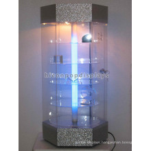 Custom Design Table Top 5-Tier Rotating Lighting Retail Store Commercial Glass Display Cabinets