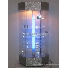 Индивидуальный Дизайн Столешницы 5 Уровня Вращающийся Освещение Магазина Розничной Торговли Коммерческие Стеклянные Шкафы Дисплея