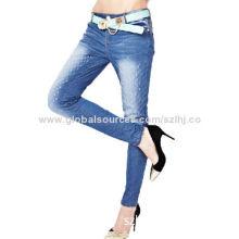 Women Slim Denim Pants with Stone Wash Effect