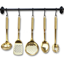 Stainless Steel Gold Cooking Utensils Set Spatula