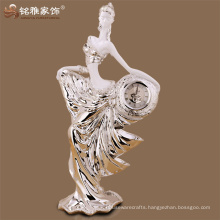 Tabletop resin beauty with clock elegant angel shape decoration piece