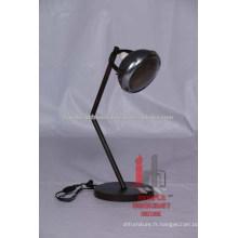 Lampe de table réglable en métal industriel à lumière ronde