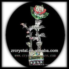 K9 flor de cristal verde e vermelho