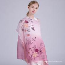 Haute qualité nouvelle arrivée mode main broderie écharpe design mélange écharpe en soie dubai
