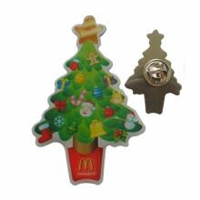 Pin de revers d'arbres de Noël d'impression en métal en ventes