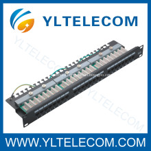 1U 19inch 24port(3*8) Patch Panel Right Angle Cat.5e and Cat.6 type