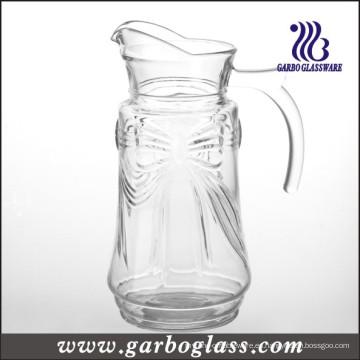 Bowknot diseño alto blanco material jarra de vidrio (GB1114HDJ)