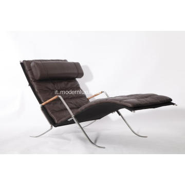 Replica in pelle marrone FK87 Grasshopper Chaise Lounge Chair