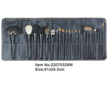 22pcs dark blue plastic handle animal/nylon hair makeup brush tool set with dark blue pu leather case