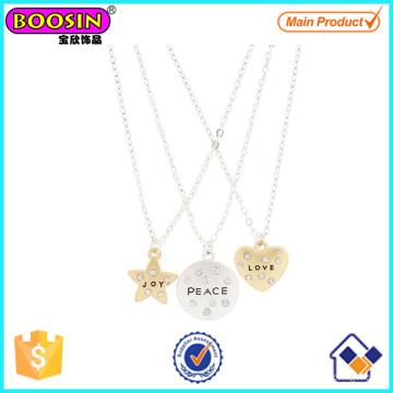 Beste Freunde Liebe, Frieden und Freude Anhänger Tag Halsketten # Scn02