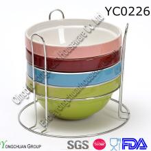 Набор керамической посуды с подставкой из стали