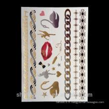 Corps en or et argent noir tatouage métallique autocollant, corps doré bijoux métalliques bijoux tatouage temporaire
