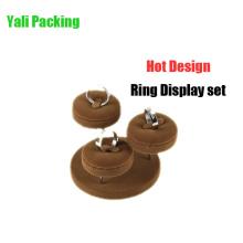Venda por atacado cilíndrica do carrinho de exposição do anel da jóia de Brown (JS-BV-3R)