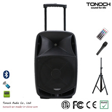 Good Quality 15 Inches Plastic Trolley Professional Speaker with Battery