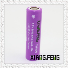 3.7V Xiangfeng 18650 2500mAh 40A Imr Rechargeable Lithium Battery Batterie Rechargeable