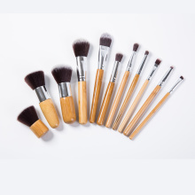 11 PCS Professional Wood Foundation Brosses Kabuki Makeup Brushes