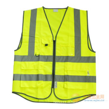 Chaleco de seguridad reflectante alta con muchos bolsillos