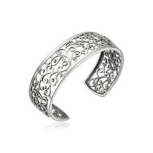 Оптовый серебристый филигранный браслет из манжеты с родиевым покрытием