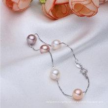 925sterling Silber Aaaa 7-8mm runde Süßwasser kultivierte Perle Armband