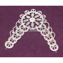 Taza de cristal de cadena applique rhinestone appliques de vestido de novia