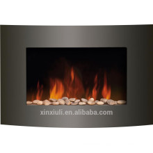 Burning heater with pebble fireplace
