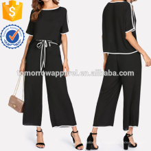 Binding Split Sleeve Top y Palazzo Pants Set Manufacture Venta al por mayor Fashion Women Apparel (TA4016SS)