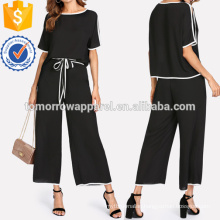 Binding Split Sleeve Top & Palazzo Pants Set Manufacture Wholesale Fashion Women Apparel (TA4016SS)
