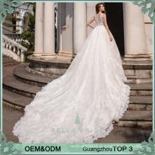 Deep V neckline vestido de noiva noiva vestidos de casamento branco vestidos de casamento sexy com trem longo