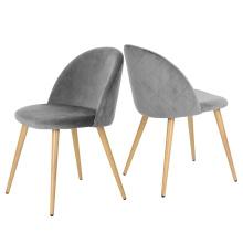 Hot sale popular grey velvet upholstered gold stainless steel dining chair modern for living room