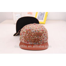 wholesale floral print leather badge cheap snapback cap