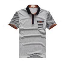 Günstige Uniform Short Striped Sleeve Grau Polo-Shirts