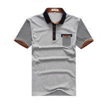 Cheap Uniform Short Striped Sleeve Grey Polo Shirts