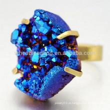 Moda moldura configuração grande natural druzy anéis de pedras preciosas, anel de cobre