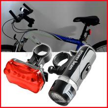 Nova impermeável 5 LED lâmpada de bicicleta frente luz da cabeça + lanterna de segurança traseira