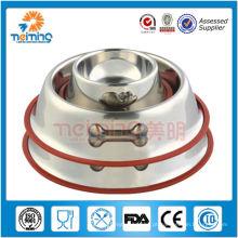 Produtos para animais de aço inoxidável antiderrapante redondos rasos, tigelas para cães