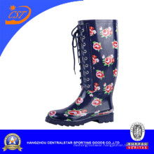 Fashion Ladies Lace up Rubber Rain Boots