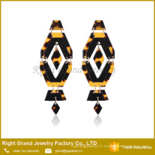 ShenZhen or saut anneau en acier boucle d'oreille léopard impression en acier inoxydable boucles d'oreilles bijoux Drop Acrylic Earring Stud
