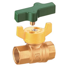 J277 Brass Natural Gas Ball Valve, Female Thread, Butterfly Hand, With Lock