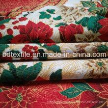 Рождественский печатный мини-матовый, набивная скатерть 100% полиэстер Мини-матовая печатная ткань