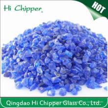 Chips de vidro de cobalto azul esmagado