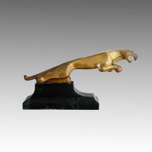 Statue animale Petite sculpture en bronze de léopard d'or Tpal-287