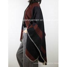 100% акриловая мода Lady Winter Warm Hemmed Woven Poncho